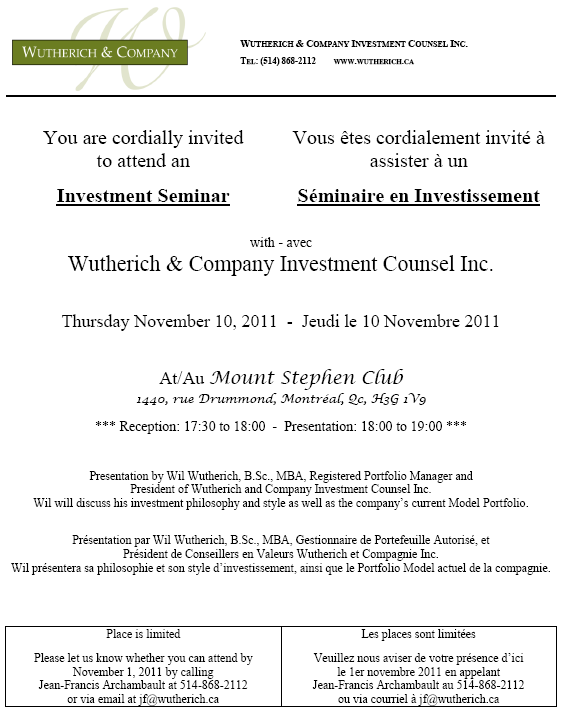 Wutherich co investment seminar invitation reminder investment seminar invitation reminder stopboris Choice Image